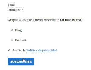Newsletter de Mailrelay con WordPress de varios grupos frontend